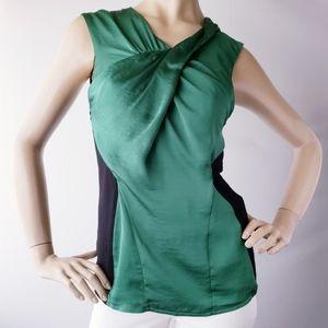 Vince Camuto Satin Emerald Green & Black Blouse